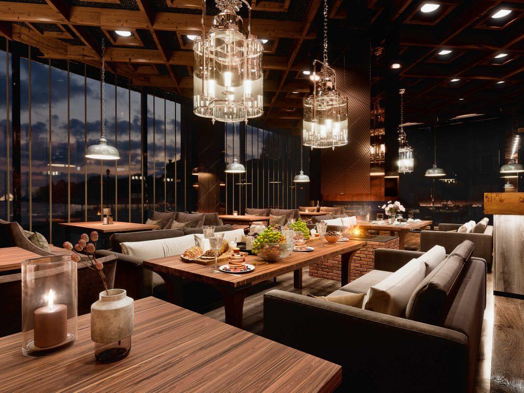designerskie lampy wiszące w restauracji